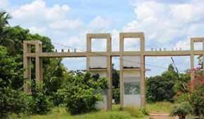 Pintu gerbang pengunjung masuk ke Danau Ulak Lia Sekayu