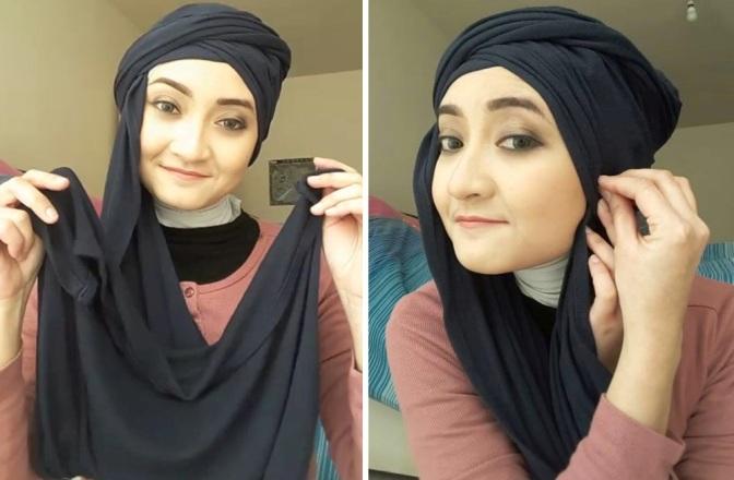 Hanya 1 Menit, Tutorial Hijab Terinspirasi Gaya Pramugari Emirates