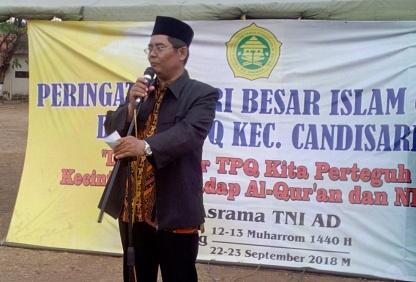 Sambutan Ketua Badko TPQ Kecamatan Candisari pada Perkemahan Santri Sabtu Minggu (PERSSAMI) di Lapangan Asrama TNI AD Mrican Semarang