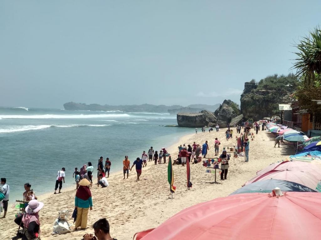 Asyiknya Di Pantai Indrayanti Gunungkidul Yogyakarta Yang Menawan Saat Cerah Kissparry